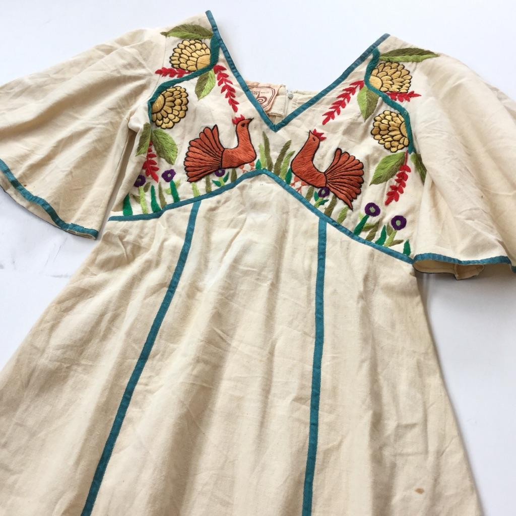 GONZALO BAUER MEXICO ワンピース エスニックドレス 送料無料 レディース S程度/生成 メキシカン 民族 刺繍 綿 USA アメカジ 古着卸 業販
