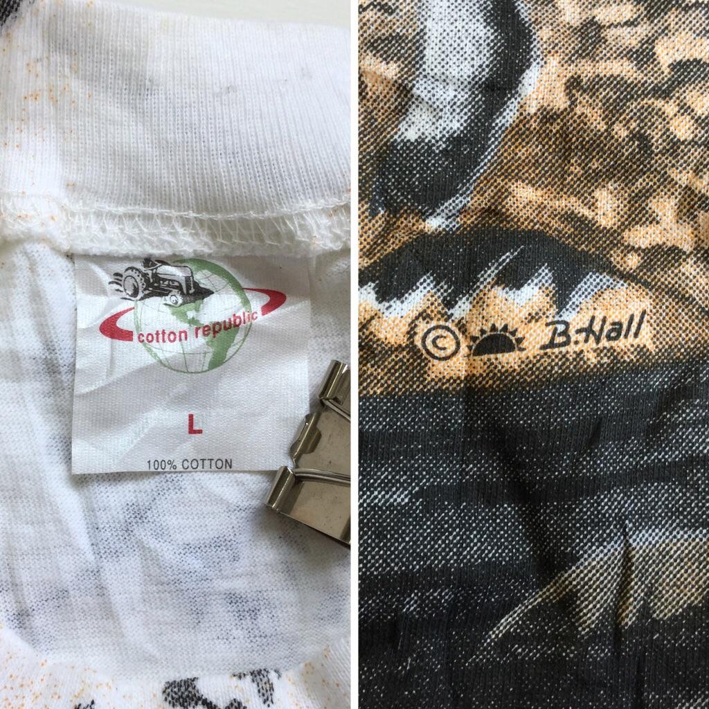 鹿 半袖Tシャツ アメリカ直輸入 送料無料 メンズ L/白xオレンジx黒 森 鹿夫婦 メジカ オシカ USA アメカジ 古着卸 送料無料