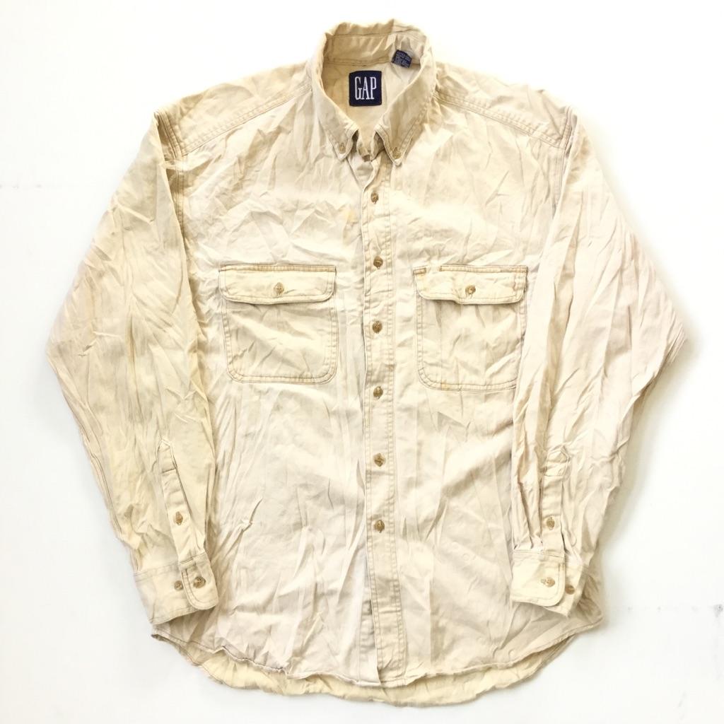 90's GAP ギャップ 長袖シャツ アメリカ直輸入 コットンシャツ 送料無料 メンズ M/ベージュ系 無地 ワーク プレーン USA アメカジ ブランド アウトドア タウン 古着卸 業販