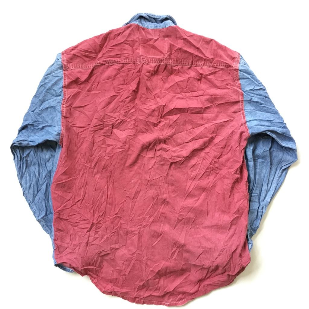 ELSBACK デニムシャツ シャンブレーシャツ アメリカ直輸入 ダンガリーシャツ 送料無料 メンズ 39-40/デニムブルーxカラーデニム(赤系) 長袖シャツ USA ワーク スポーツ アメカジ 古着御 業販 大きい ビッグ オーバー XL程度