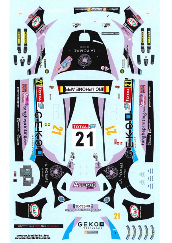1/24 Peugeot 207 S2000 #21 Geko Ypres Rally 2011<br>BELKITS【Decal】