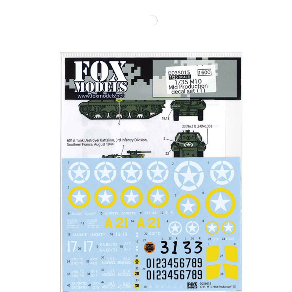 1/35 M10 Mid Production decal set (1)<br>FOX MODELS