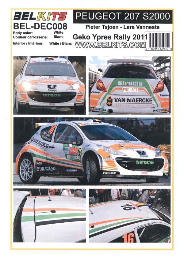 1/24 Peugeot 207 S2000 #16 Geko Ypres Rally 2011<br>BELKITS【Decal】
