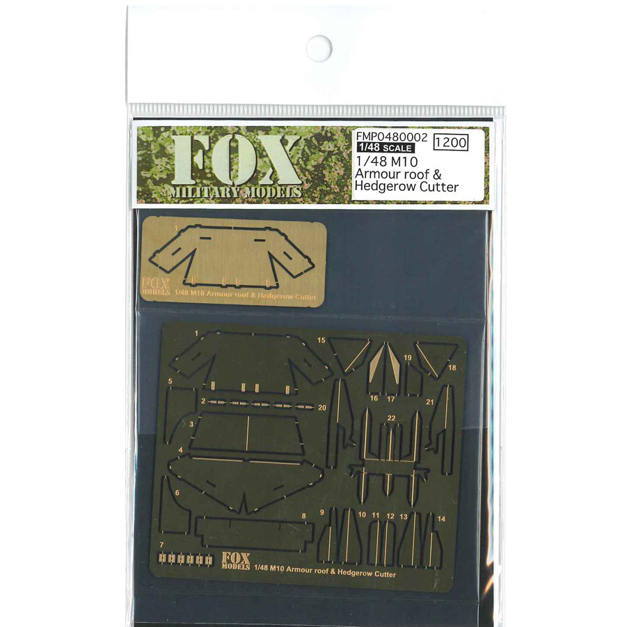 1/48 M10 Armour roof and Hedgerow Cutter<br> P/E Parts<br>FOX MODELS