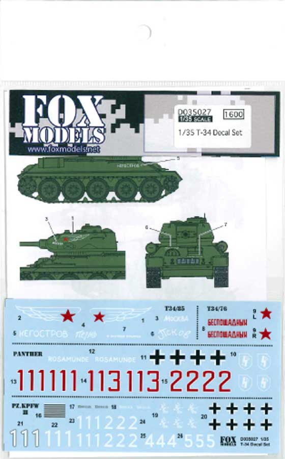 1/35 T-34 Decal Set<br>FOX MODELS