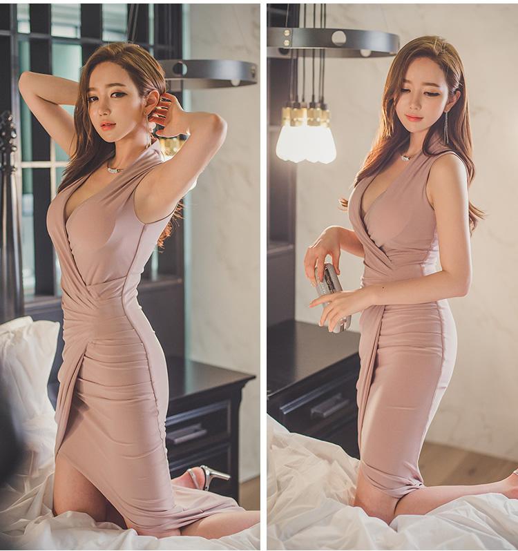 セクシーなローカットクロスVネックスリムドレス