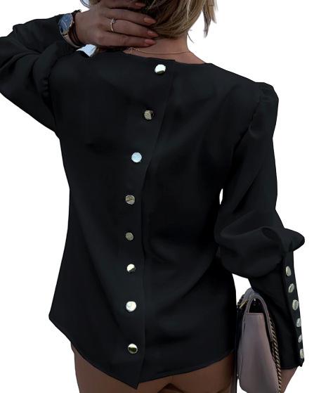 トップス ブラウス レディース ゴールドボタン シャツ おしゃれ 長袖  ゴージャス 派手め セレブ きれいめ