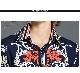 シャツ ブラウス レトロ デザイントップス イラスト ミディアム ハイネック スキッパー 長袖 ドロップショルダー リーフ柄 こなれ感