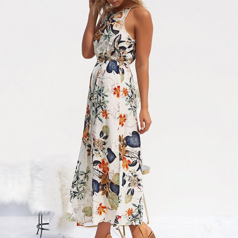 BeachFlower ロングノースリーブ Bohe セクシーなホルターネック葉ドレス