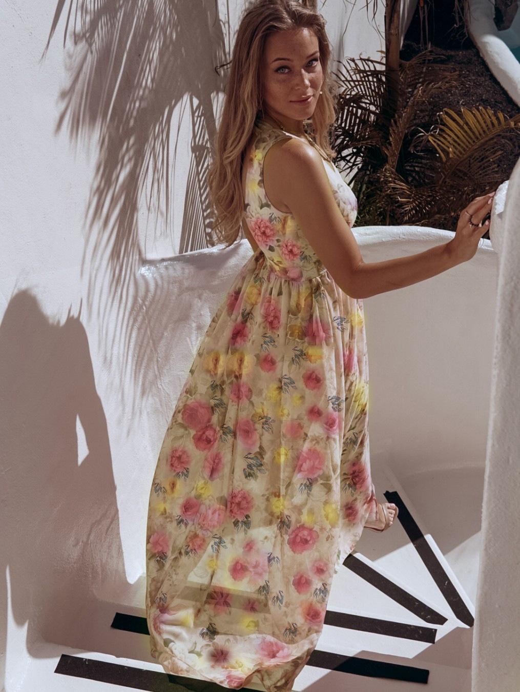 セクシーなディープ v ネック花プリント  夏のノースリーブエレガントなシフォンドレス春スプリットロングドレス