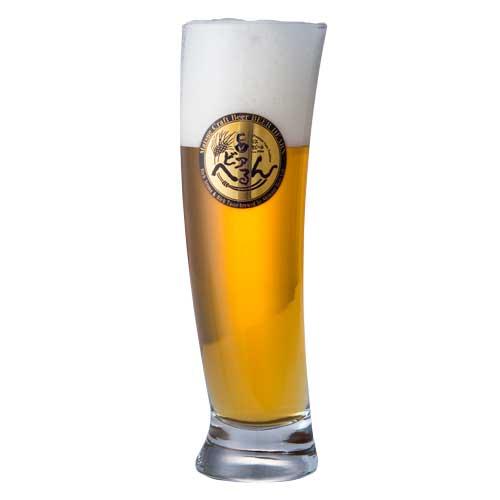 【松江ビアへるん】 バナナグラス 500ml <br>ビアへるんオリジナル金箔ロゴ入り <br>(ビールは含まれません) 常温配送