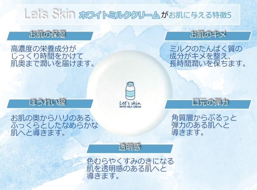 【会員さま30%オフ】Let's Skin ホワイトミルククリーム(ウユクリーム)