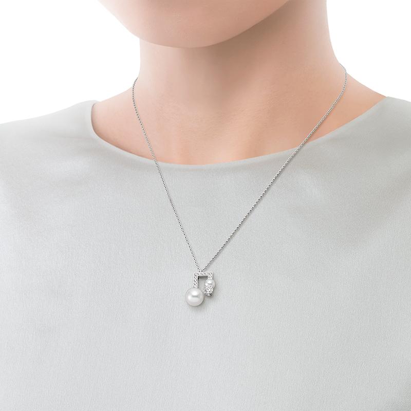 バランス ノート ダイヤモンド パヴェ  ペンダント