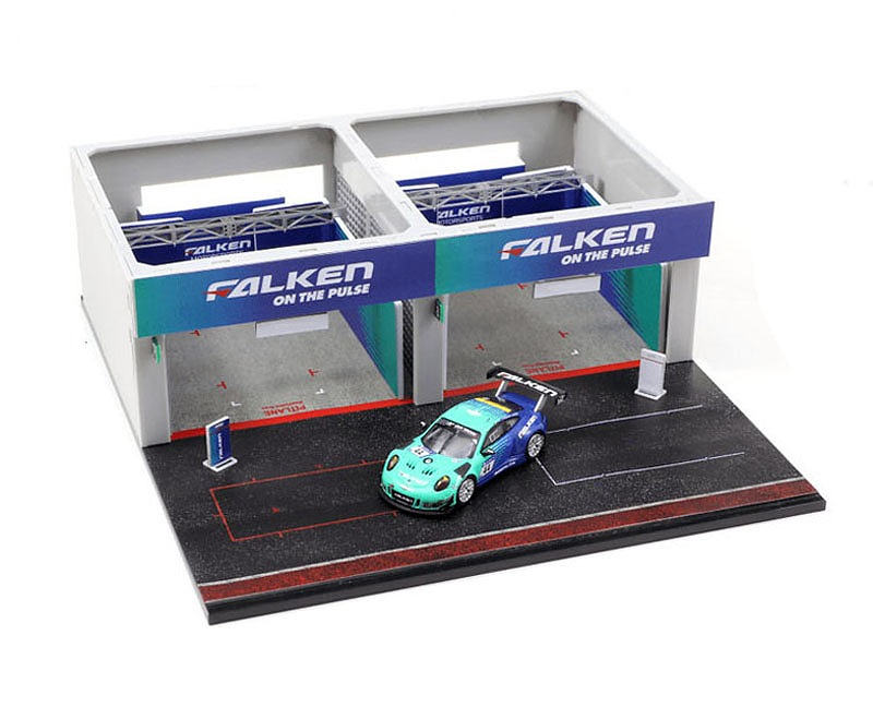 T64D-001-PS 1/64 Pit Garage Diorama - FALKEN + Porsche 911 GT3 R (991)