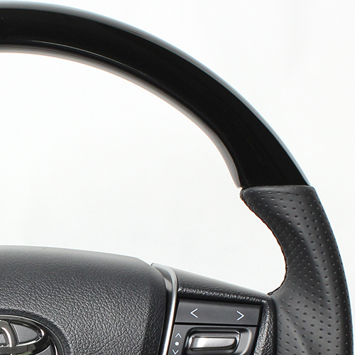REAL ステアリング プレミアムシリーズ ヴェルファイア30系/アルファード  [ラウンドシェイプ] ピアノブラック ブラックユーロステッチ