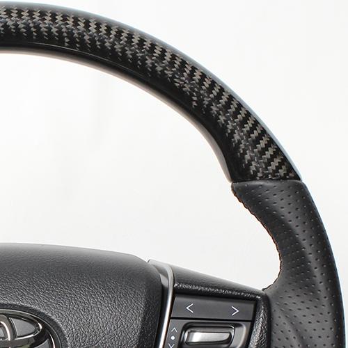 REAL ステアリング プレミアムシリーズ ヴェルファイア30系/アルファード [Dシェイプ] ブラックカーボン ブラックユーロステッチ