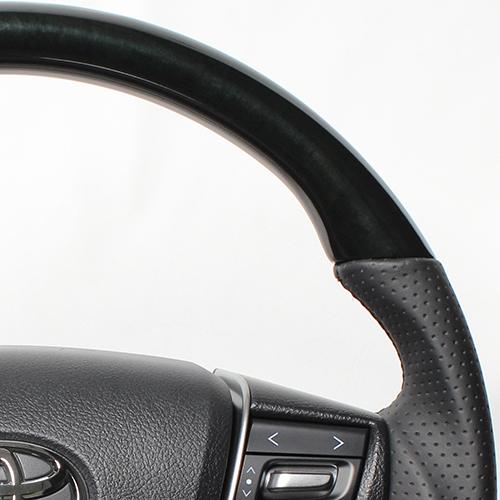 REAL ステアリング プレミアムシリーズ ヴェルファイア30系/アルファード [Dシェイプ] 210ブラックウッド ブラックユーロステッチ
