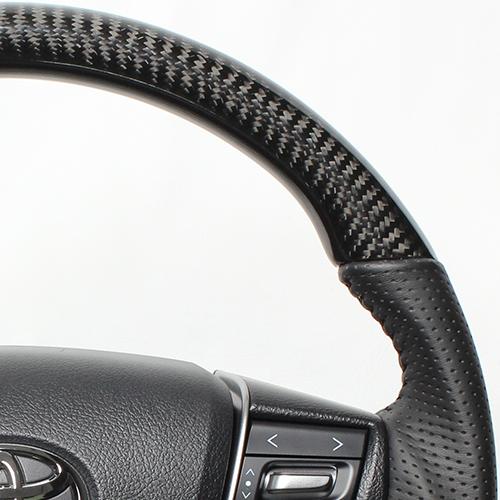 REAL ステアリング オリジナルシリーズ ヴェルファイア30系/アルファード [ラウンドシェイプ] ブラックカーボン ブラックステッチ