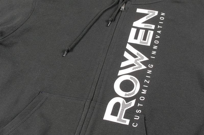 ROWEN Vertical logo Zipフーディー (ブラック×ホワイト)