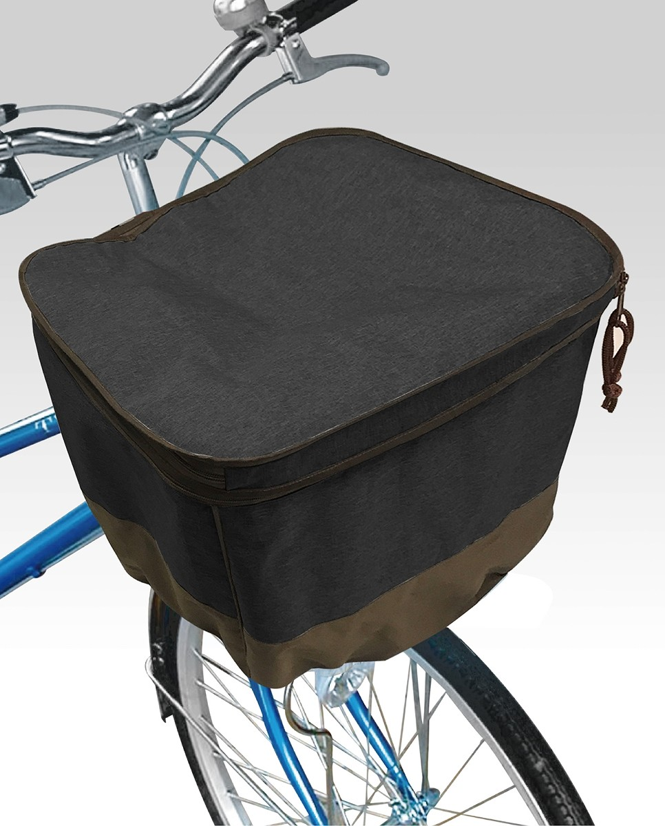 自転車 2段式前カゴカバーアシスト用 ブラック 電動自転車 バスケットカバー TOP