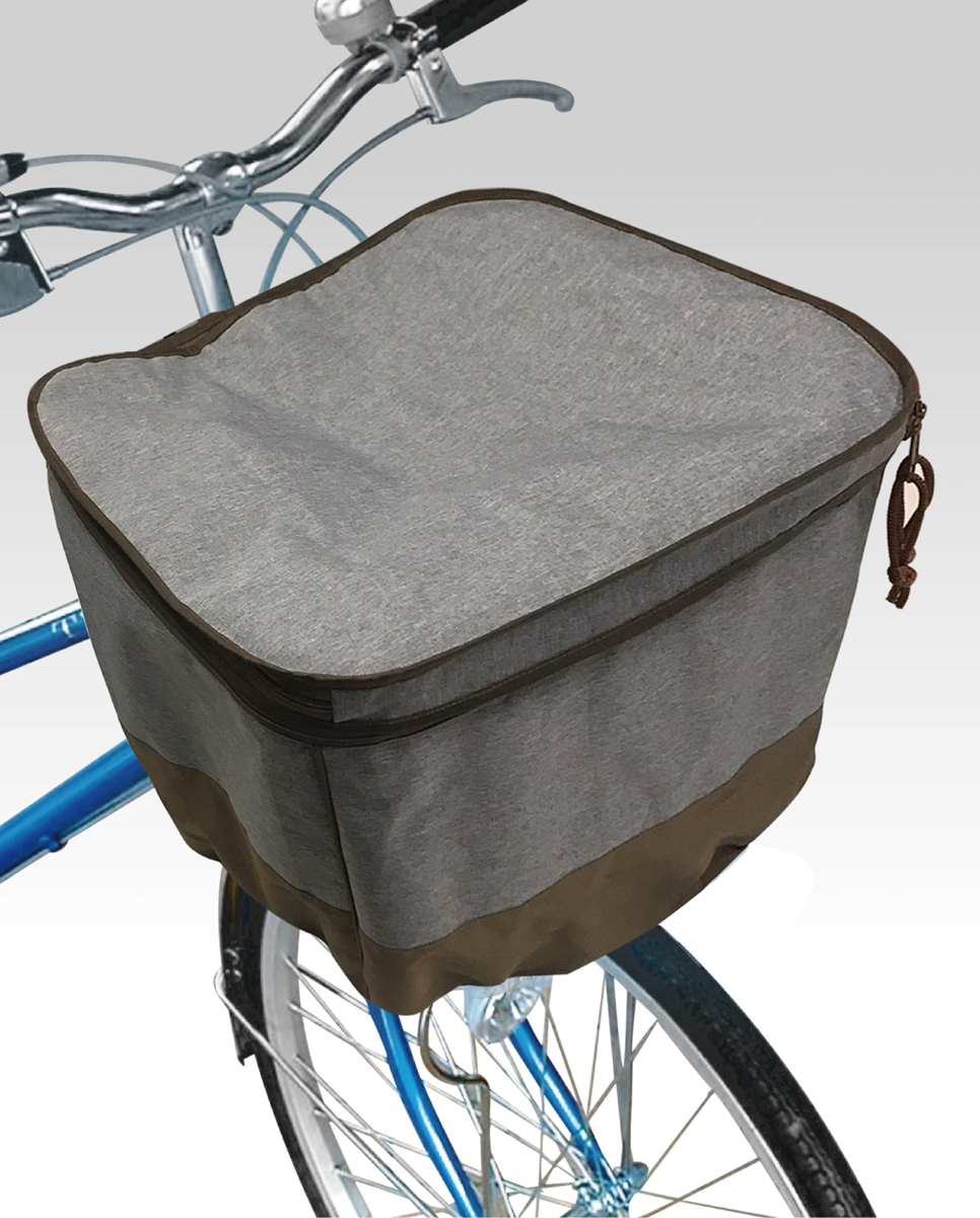 自転車 2段式前カゴカバーアシスト用 グレー 電動自転車 バスケットカバー TOP
