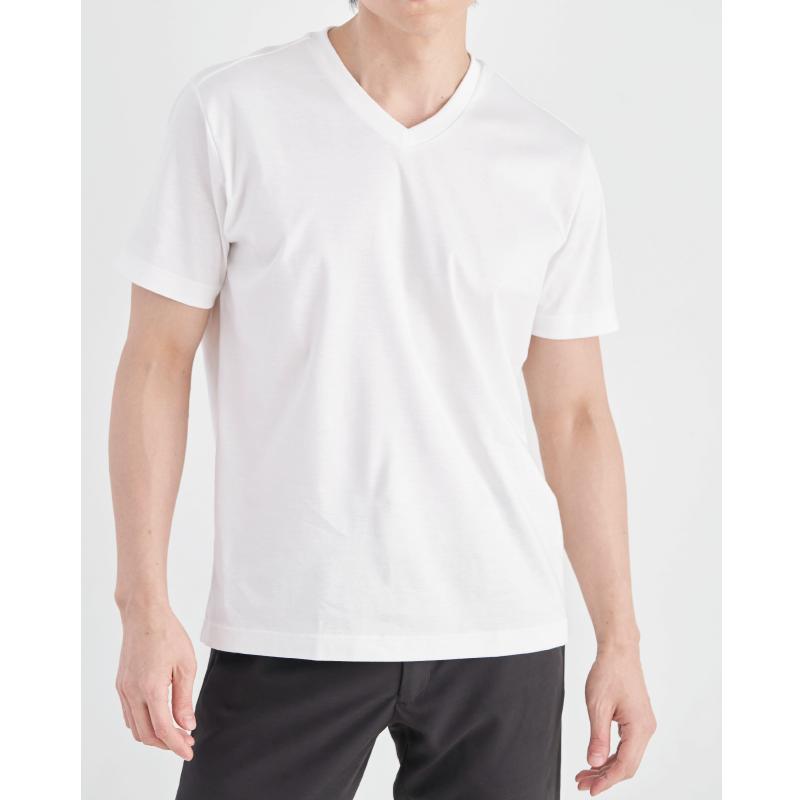 【汗染み軽減・接触冷感】スーピマコットンスムース VネックTシャツ