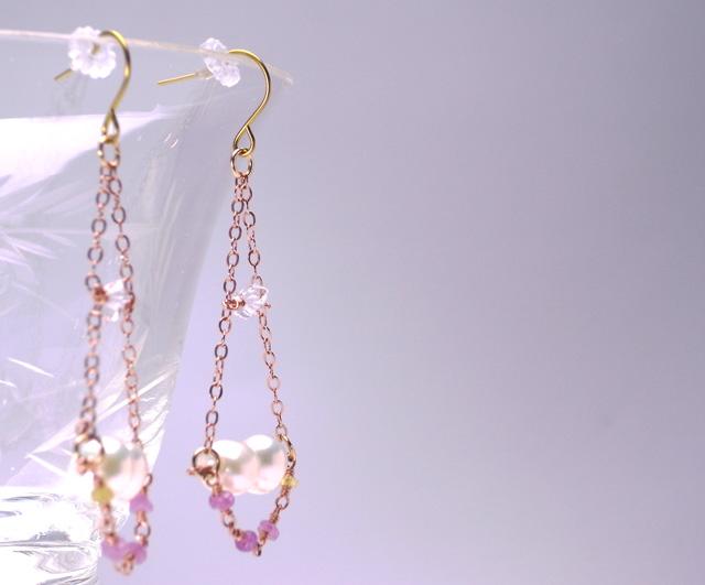 チタンピアス 天然石   淡水パールとハーキマーダイヤモンドの天秤ピアス