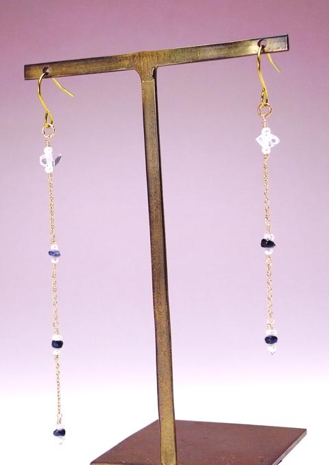 チタンピアス 天然石   ハーキマーダイヤモンドとサファイヤ・淡水パールピアス