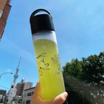 お茶を飲むカエルとウサギの鳥獣戯画ボトルセット(クリアボトル&バッグと緑茶ティーバッグ)