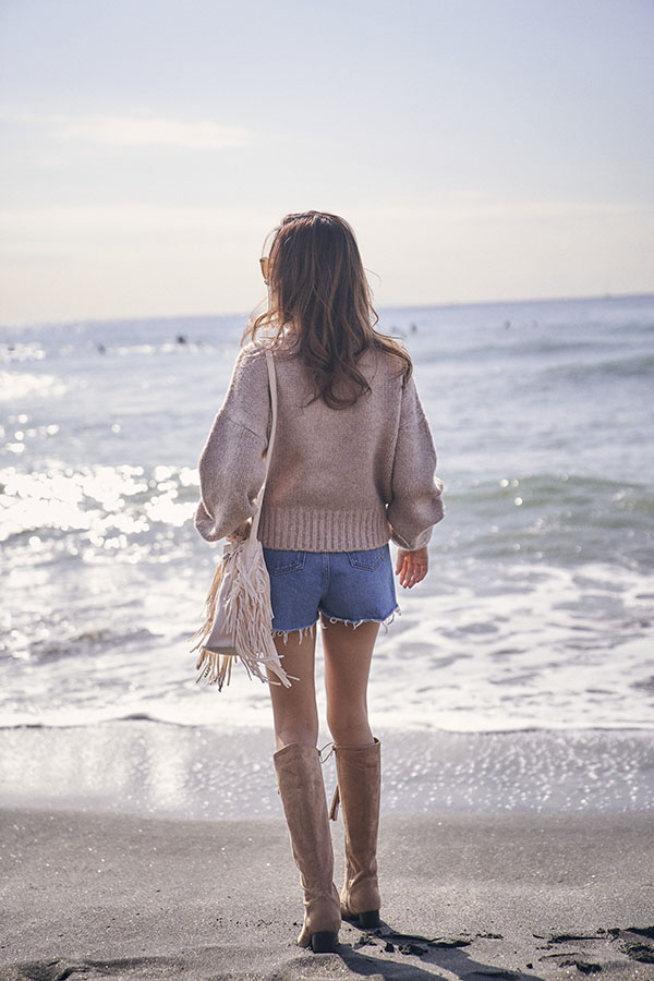 ミックスタートルニットトップス To the sea