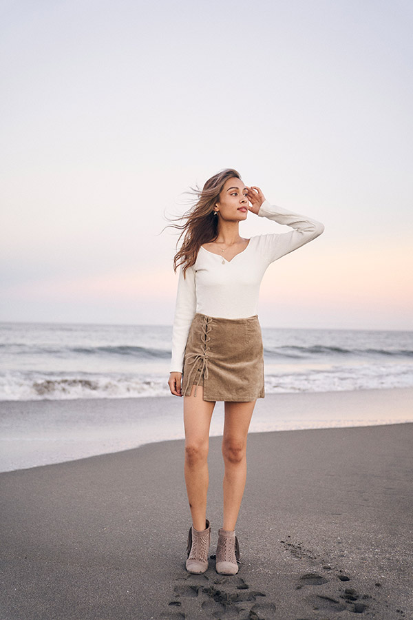 【10/14 NEW!】コーデュロイレースアップキュロット To the sea