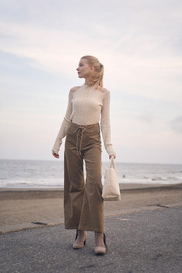 【10/14 NEW!】コーデュロイレースアップワイドパンツ To the sea