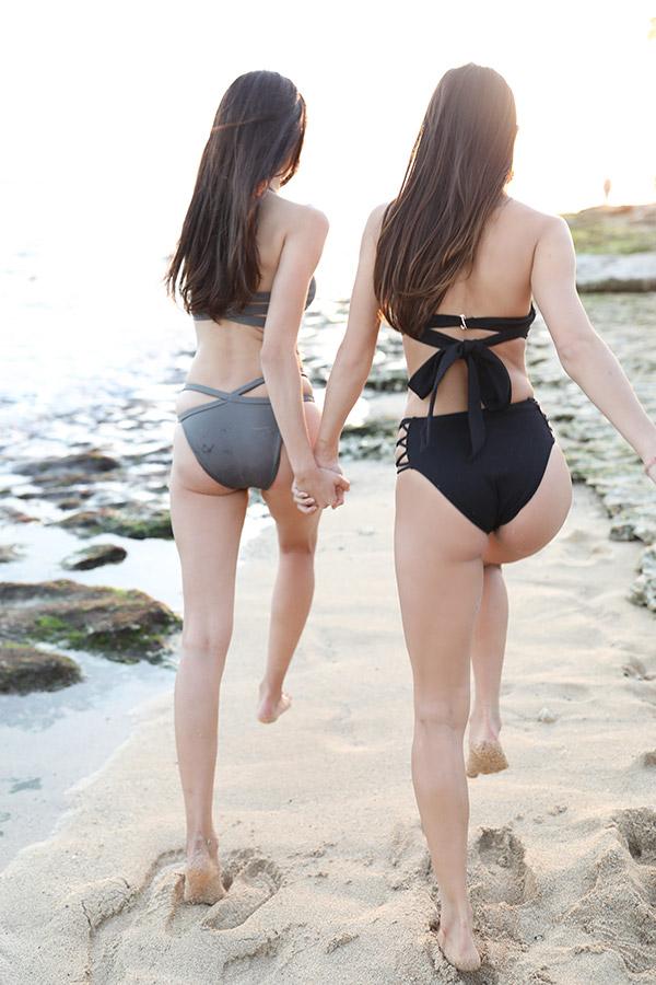 サイドストリングボトム(texture black) To the sea