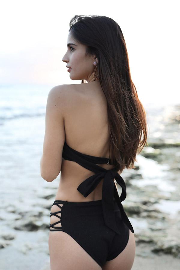 バックリボンベアビキニトップ(texture black) To the sea