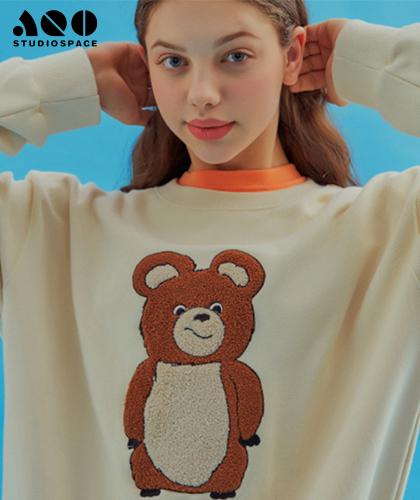 【AQOstudiospace】AQO ERIC BEAR SWEATSHIRTS