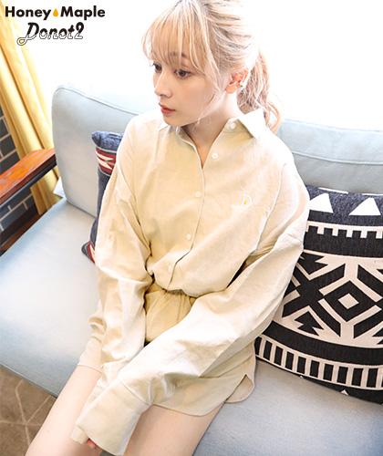 【Donot2 HoneyMaple】Linen shirts setup/リネンシャツセットアップ ベージュ