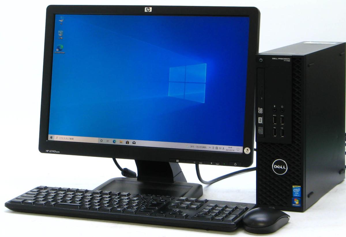 B5-5896/DELL Precision T1700-4770SF Corei7 メモリ 8GB HDD 500GB 新品GeForce GTX1030 19W液晶セット Windows10 中古ゲーミングPC