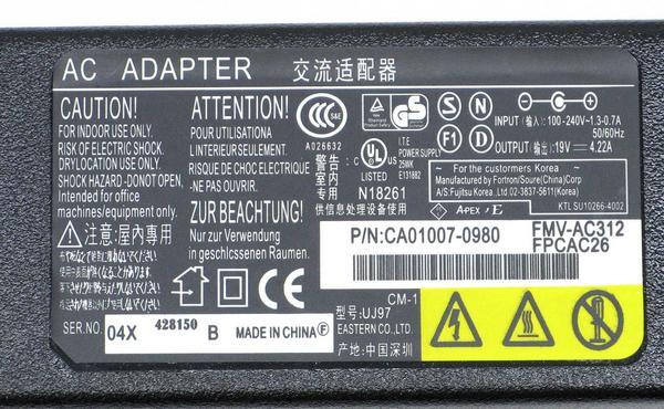 N-8/富士通 ノートPC用ACアダプタ FMV-AC312 19V/4.22A (新品)