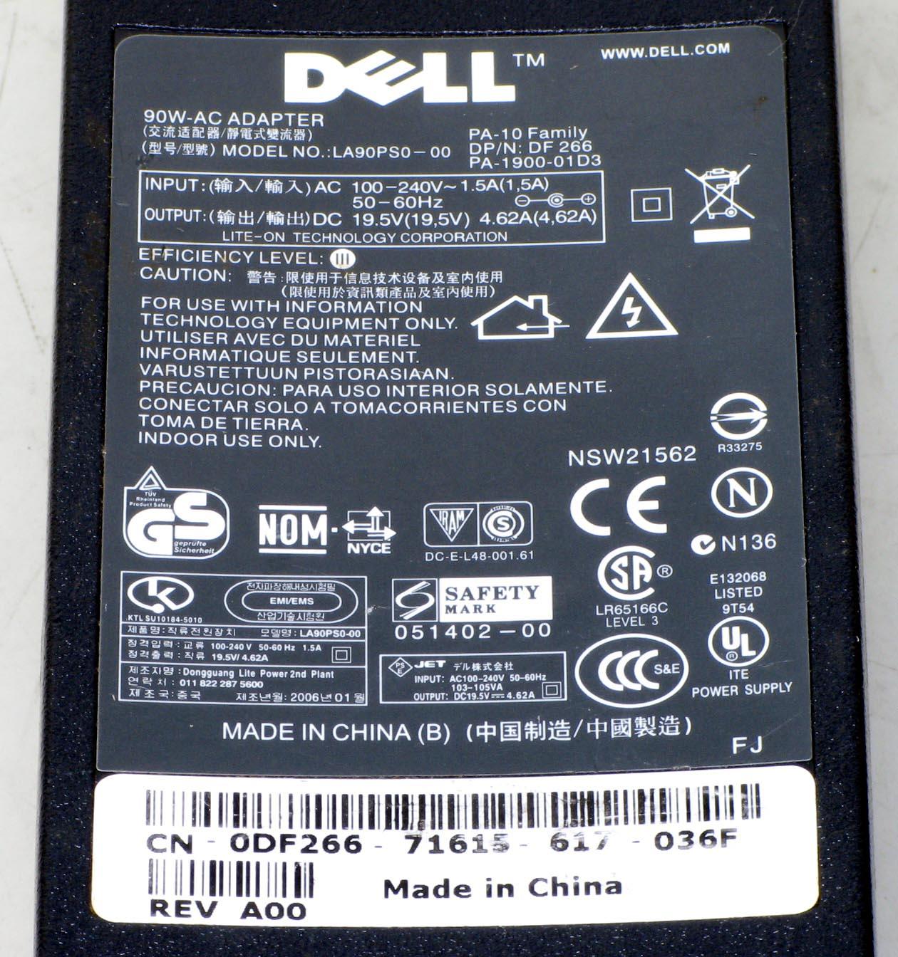 N-1/DELL ノートPC用ACアダプタ PA-10 19.5V/4.62A 電源コード付