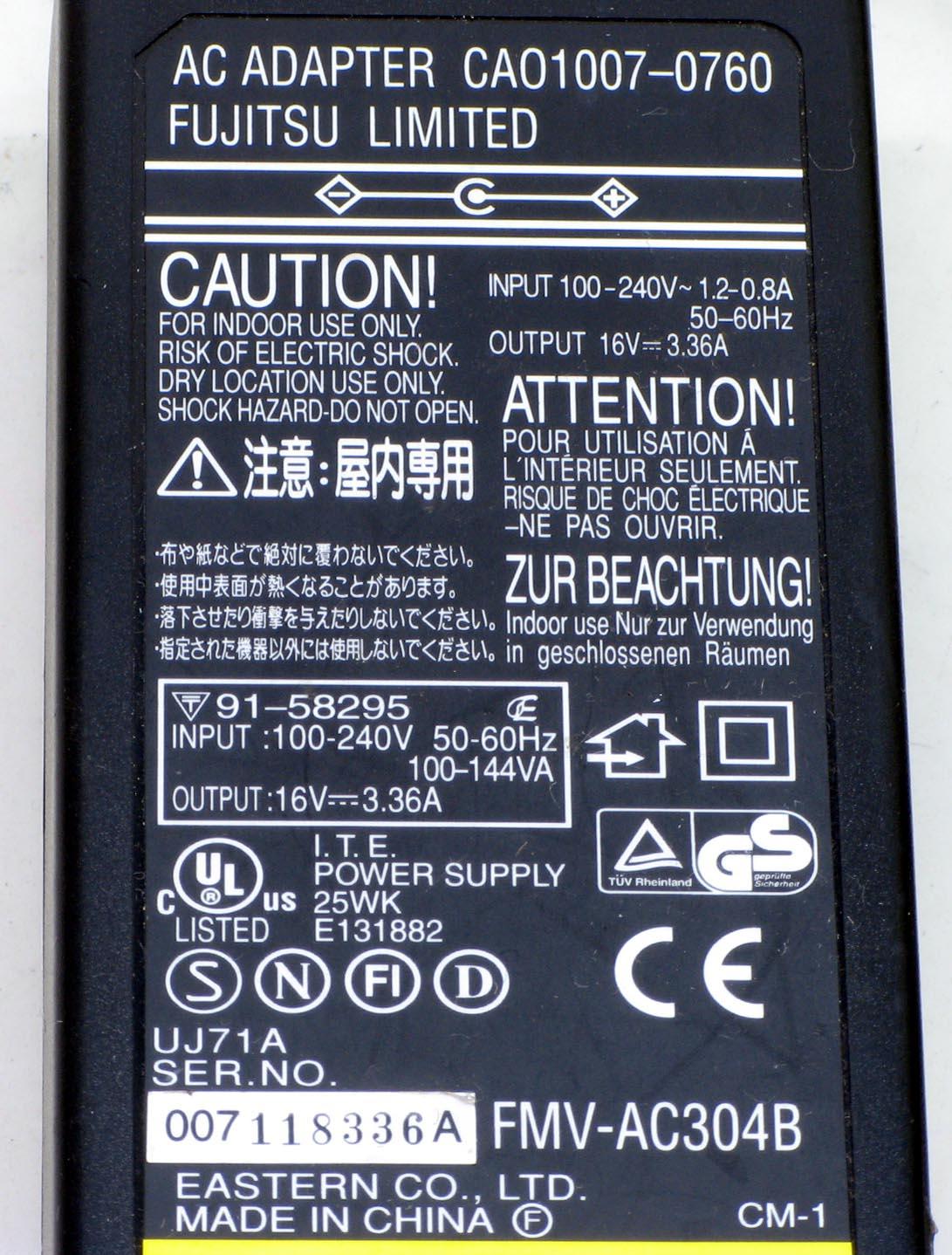 N-3/富士通 ノートPC用ACアダプタ FMV-AC304B 16V/3.36A 電源コード付