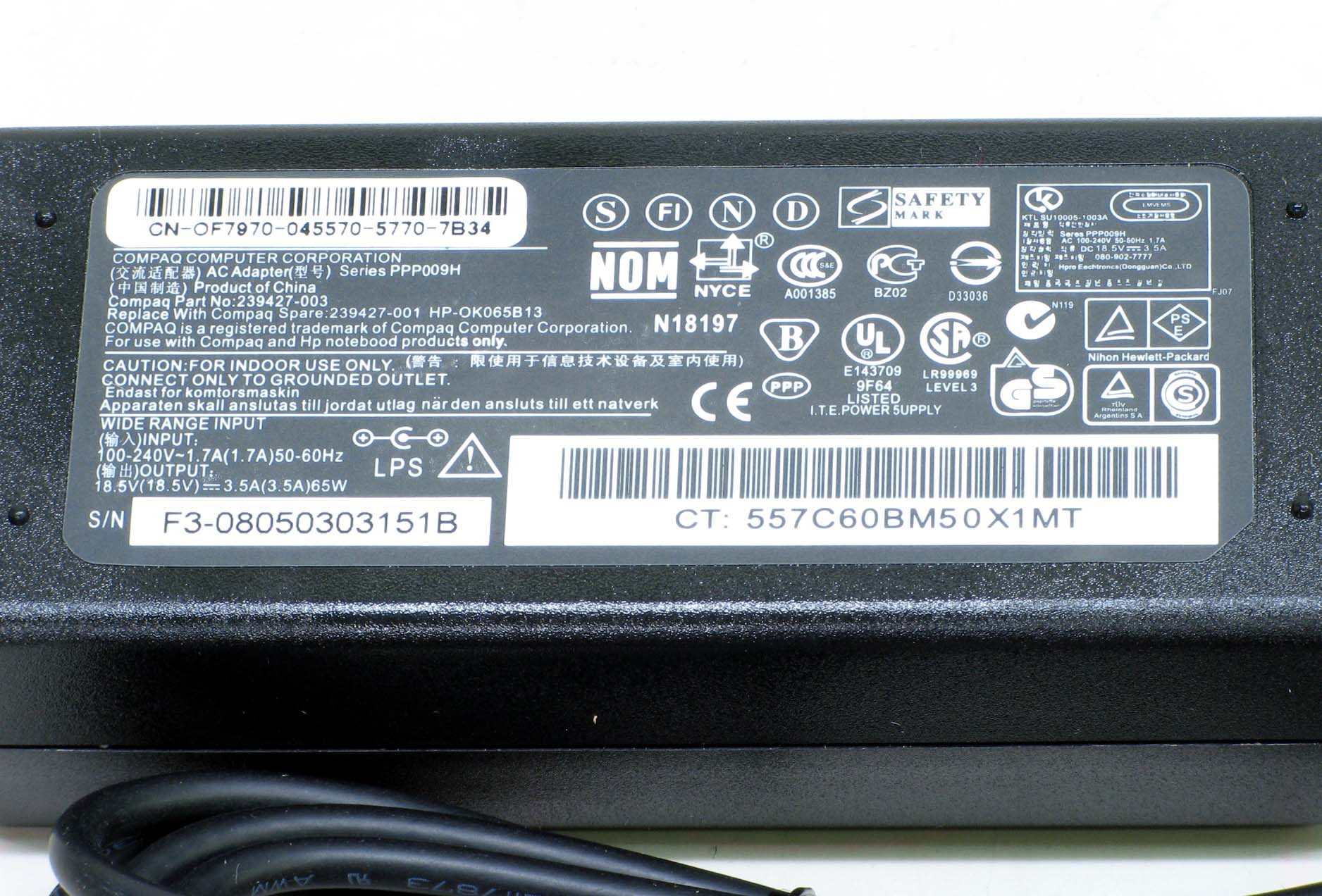 N-5/hp純正 ノート用ACアダプタ 18.5V 3.5A(PPP009H)