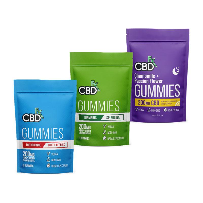 CBDfx CBDグミ ターメリック+スピルリナ 1粒CBD25mg / 合計CBD200mg 8個入り |高濃度 ブロードスペクトラムCBD