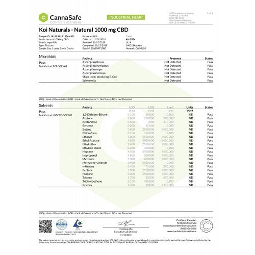 Koi NATURALS, NATURAL 1000mg ブロードスペクトラム CBD オイル / 30ml