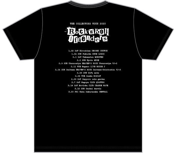 """THE COLLECTORS TOUR 2020 """"Rock'n'Roll Offenders"""" Tシャツ"""