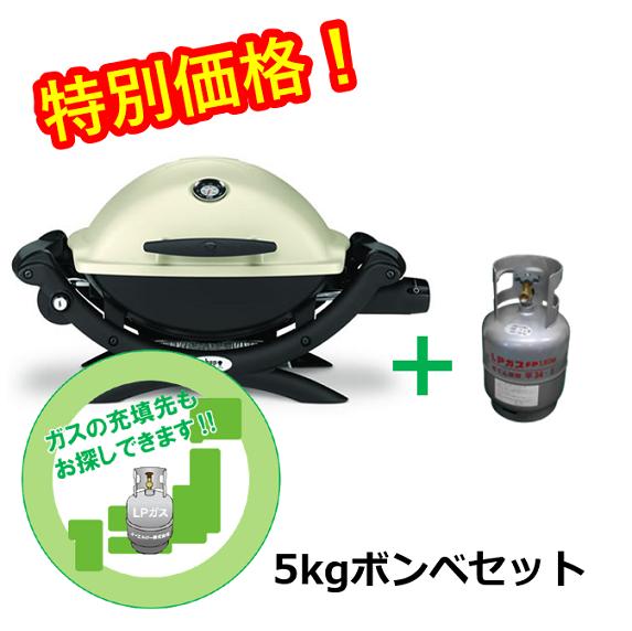 【5kgボンベ+調整器セット】WEBER Q1200 ガスグリル