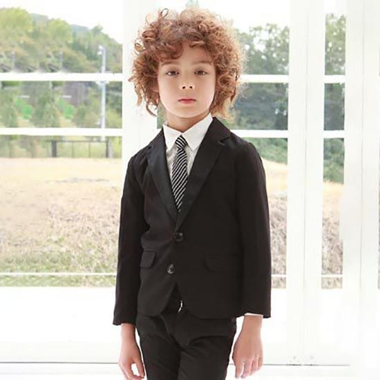 30%OFFセール ジェネレーター スーツ 子供服 サテンドレステーラードジャケット(ブラック) (110cm/120cm/130cm)