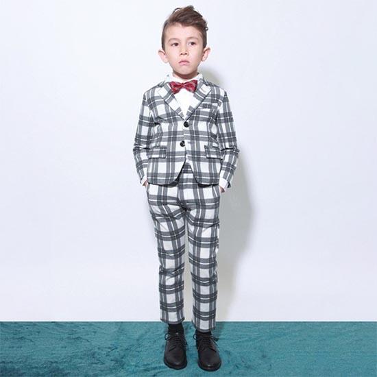 30%OFFセール ジェネレータースーツ 上下セット 子供服 グレーチェックレギュラーフィットテーラードジャケットスーツ上下2点セット(ジャケット/パンツ)(110cm-130cm) (062104/062204) 入学式 男の子スーツ 入学式 子供服 フォーマルスーツ