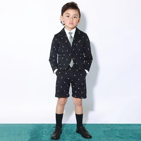 35%OFFセール ジェネレータースーツ 上下セット 子供服 アンカープリントスペンサージャケットスーツ上下2点セット(ジャケット/ハーフパンツ)(110cm-130cm) (052111/052206) 入学式 男の子スーツ 入学式 子供服 フォーマルスーツ