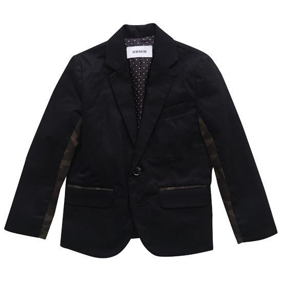25%OFFセール ジェネレータースーツ 上下セット 子供服 カモフラテーラードジャケットスーツ 001上下2点セット(ジャケット/パンツ)(ブラック)(110-140cm) (072101/072201) 入学式 男の子スーツ 入学式 子供服 フォーマルスーツ