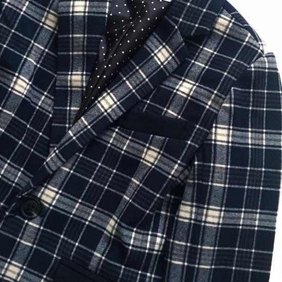 30%OFFセール ジェネレータースーツ 上下セット 子供服 紺白チェックジャケットスーツ上下2点セット(ジャケット/パンツ)(110cm-140cm) (072104/072204) 入学式 男の子スーツ 入学式 子供服 ジェネレーター フォーマルスーツ
